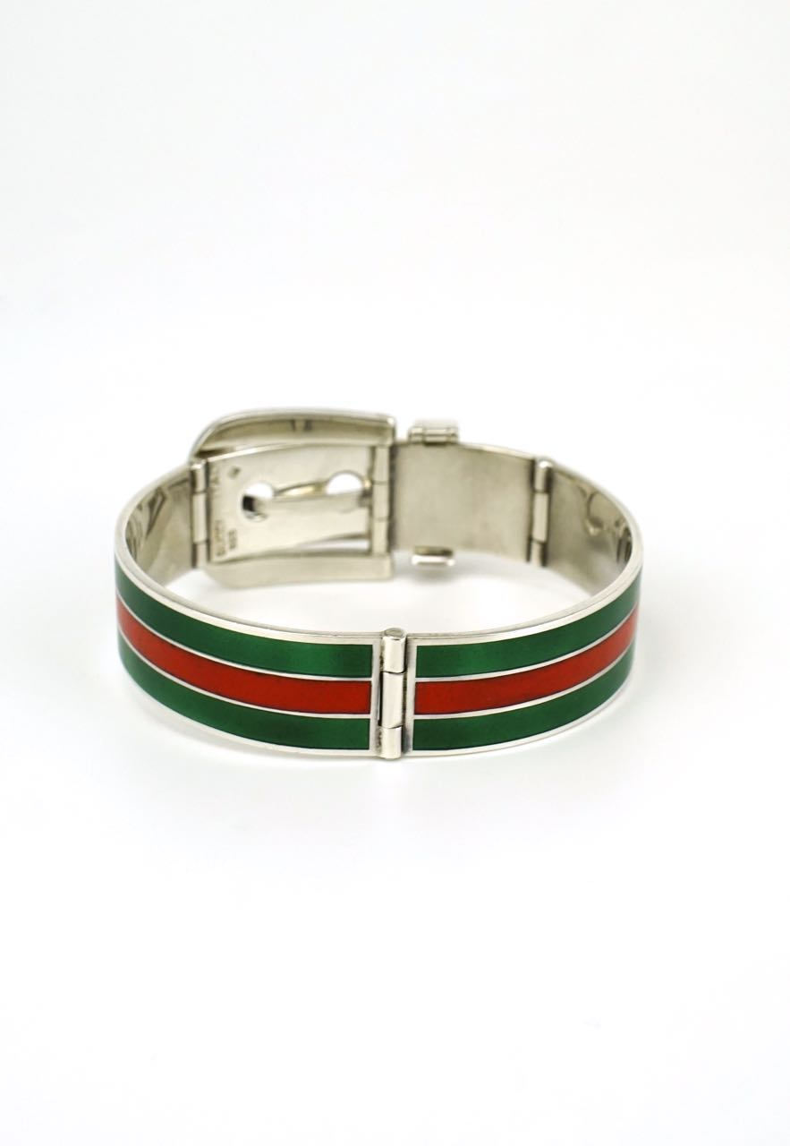 Gucci silver green and red enamel belt buckle bracelet