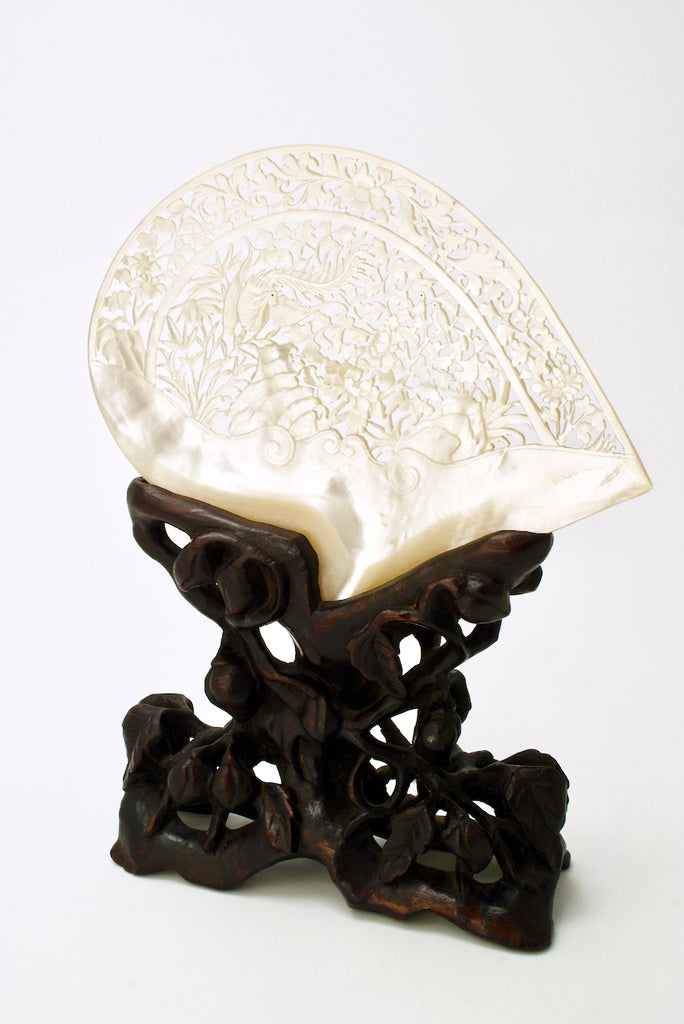 Antique Chinese Carved Mother Of Pearl Shell On Stand