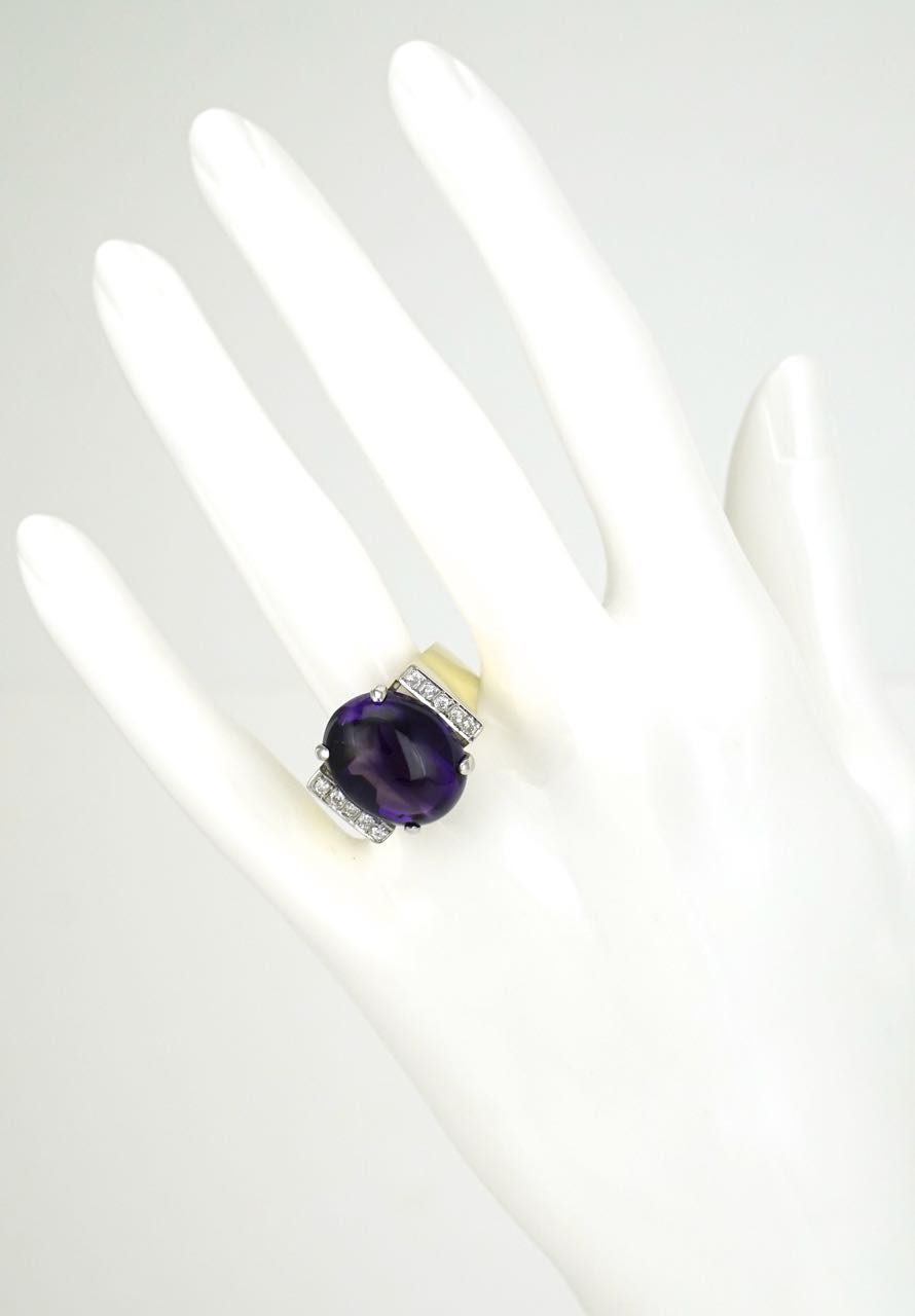 14k gold amethyst and diamond ring 1970s