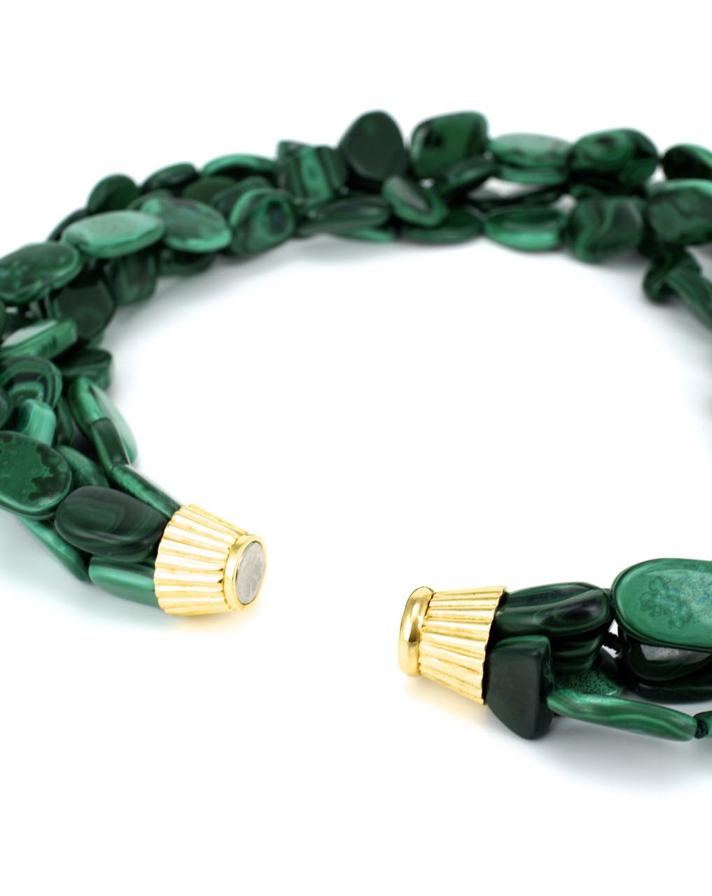 Malachite 4 strand bead necklace
