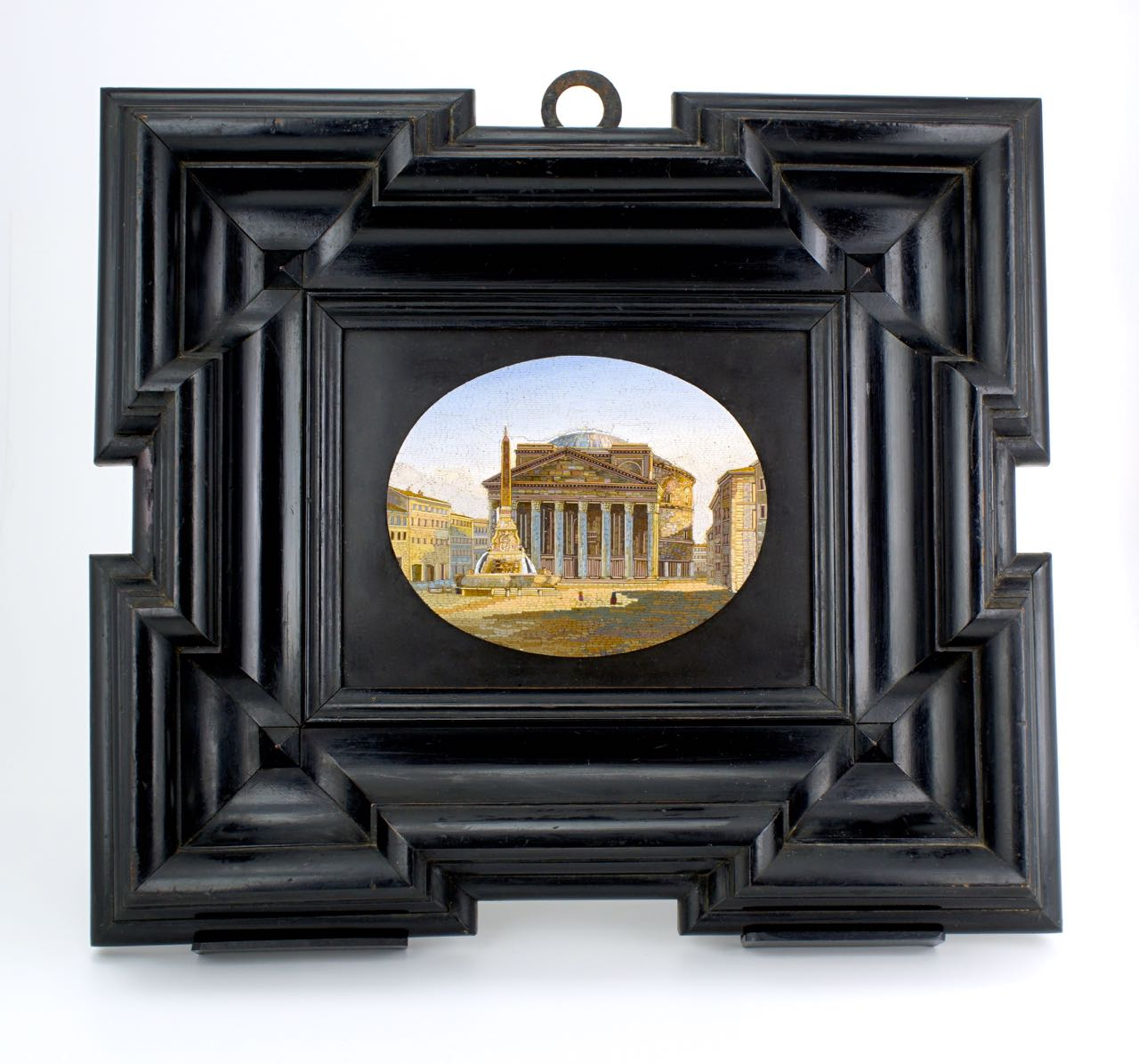 Large framed mid 19th Century micro mosaic plaque of the Pantheon Rome