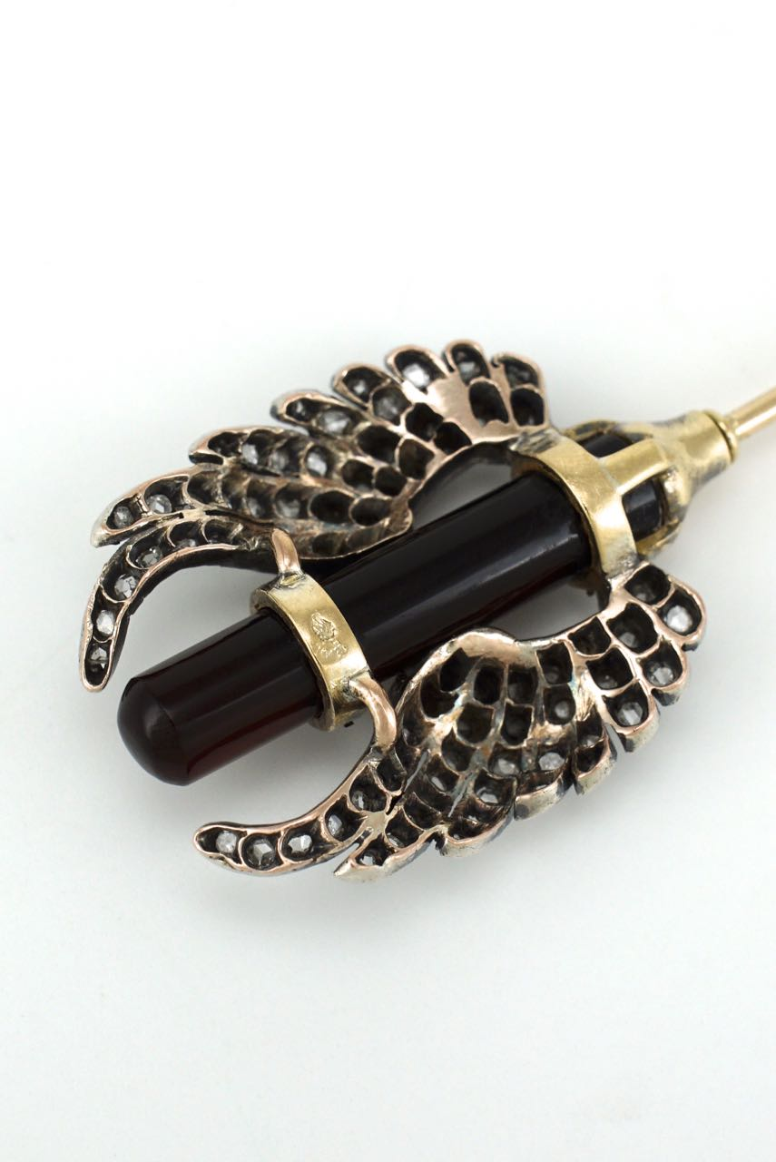 Antique French 18k gold and silver diamond and agate wing pin