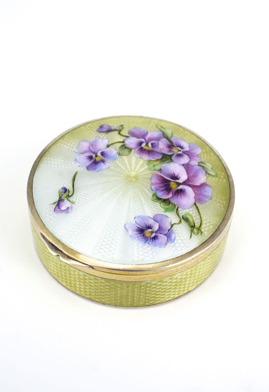 German Silver and Enamel round floral box
