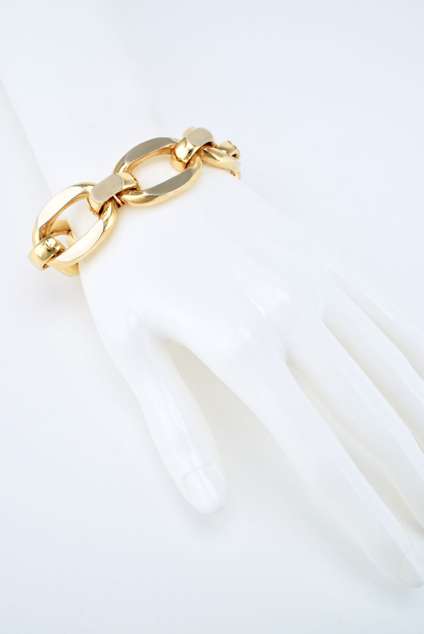 Italian 18k Yellow Gold Large Oval Link Bracelet - Uno A Erre