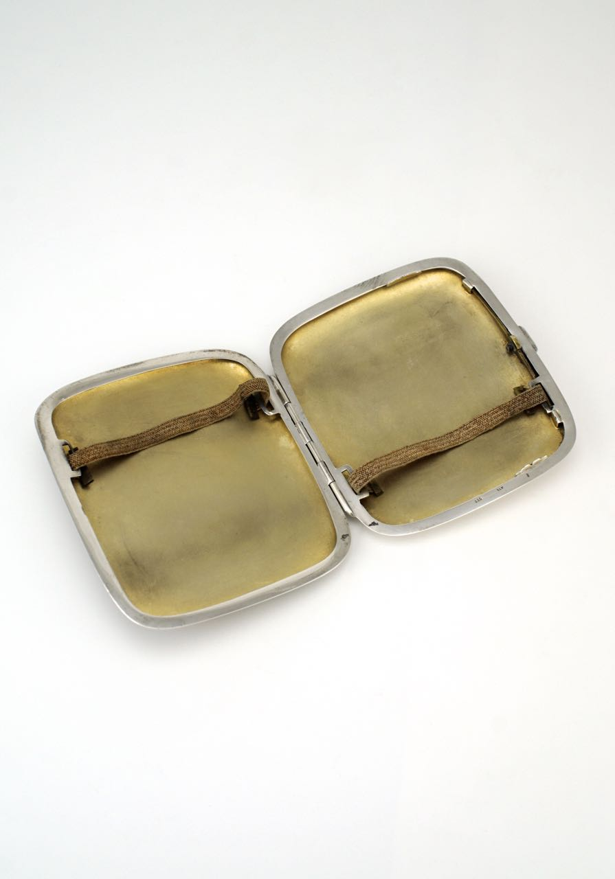 Solid silver and enamel erotic cigarette case 1920s