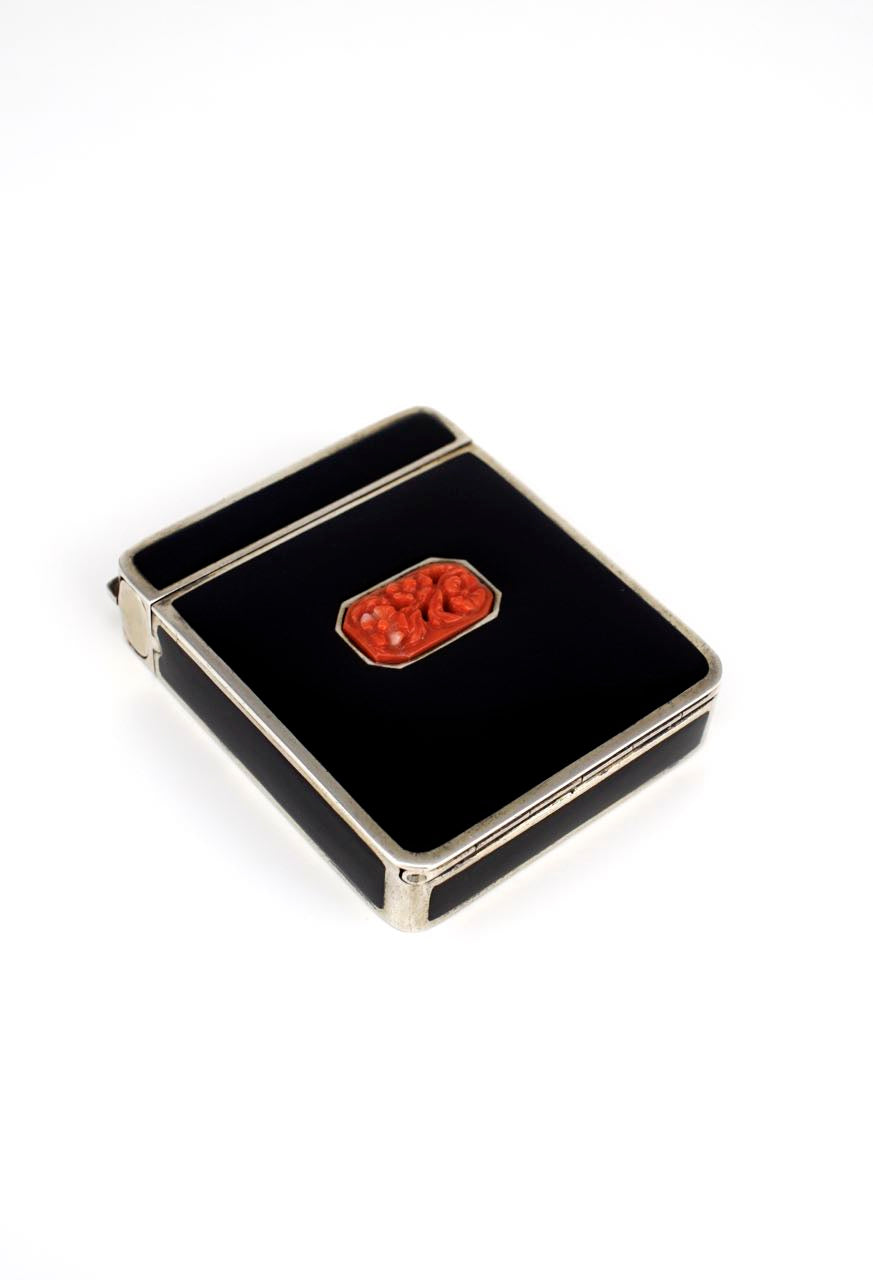 Art Deco silver and black enamel coral compact 1930s