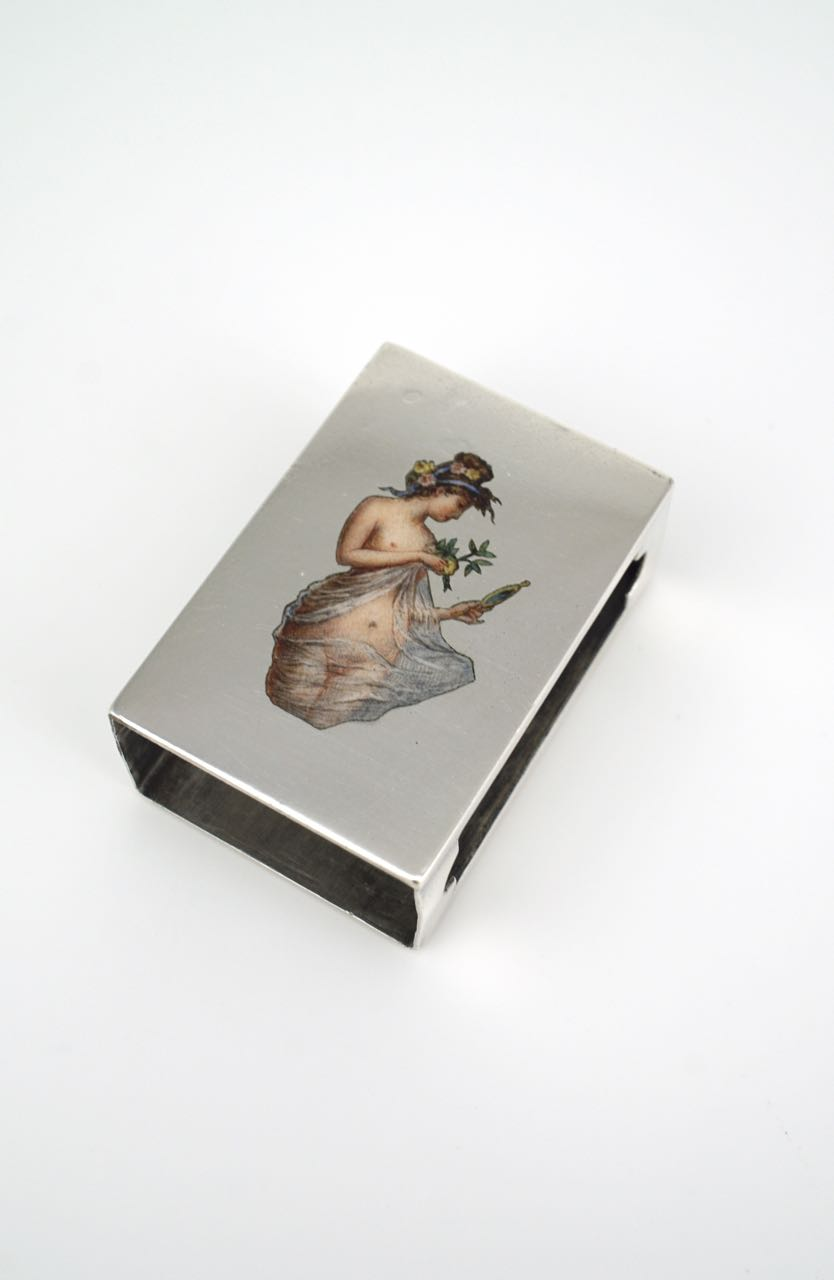 Antique solid silver and enamel erotic match box cover