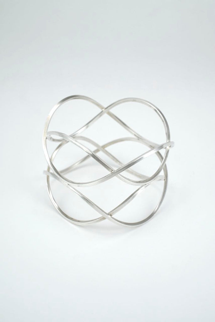 Danish Solid Silver Lattice Bangle Aage Fausing Rey Urban 1970s