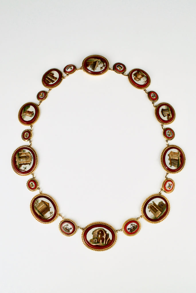 Antique Georgian Grand Tour 18k Gold Micro Mosaic Archaeological Necklace 1810