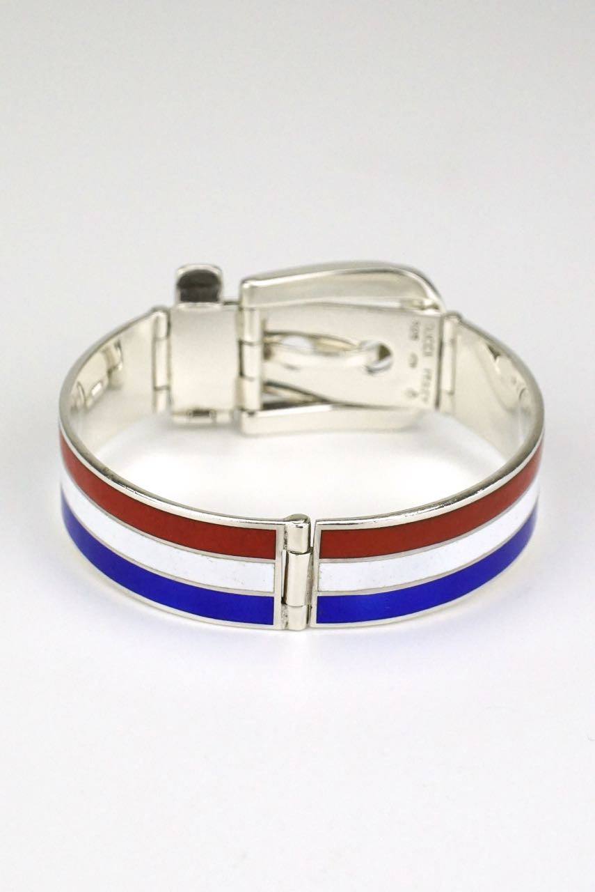 Gucci silver red blue and white enamel belt bracelet