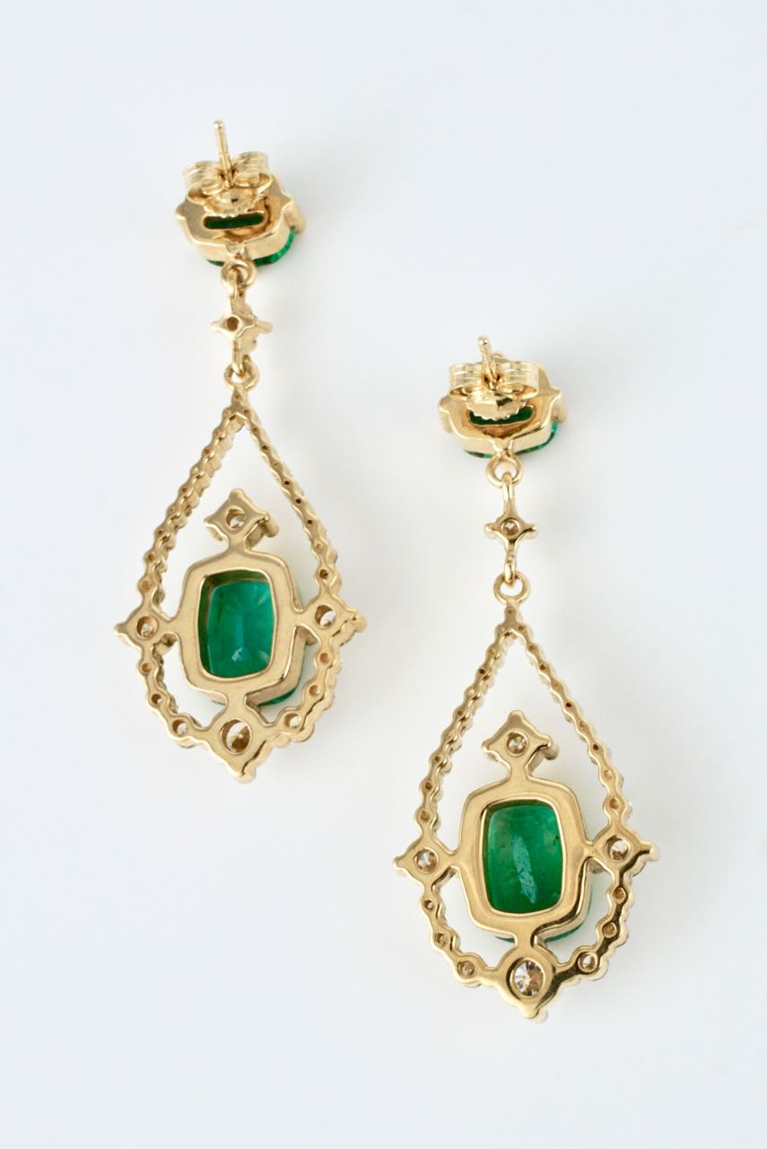 Vintage 18k Yellow Gold Emerald and Diamond Drop Earrings