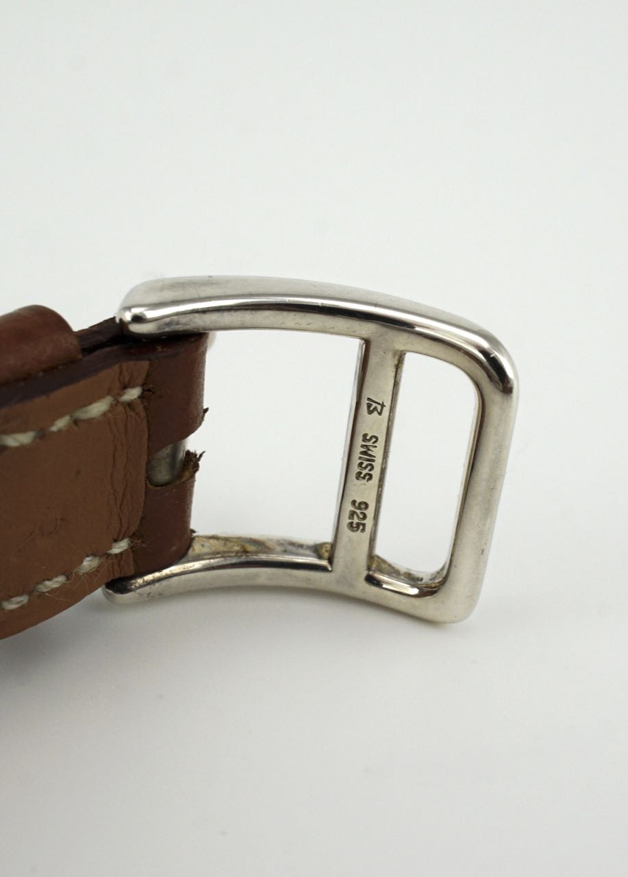 Hermes sterling silver and leather Kelly watch