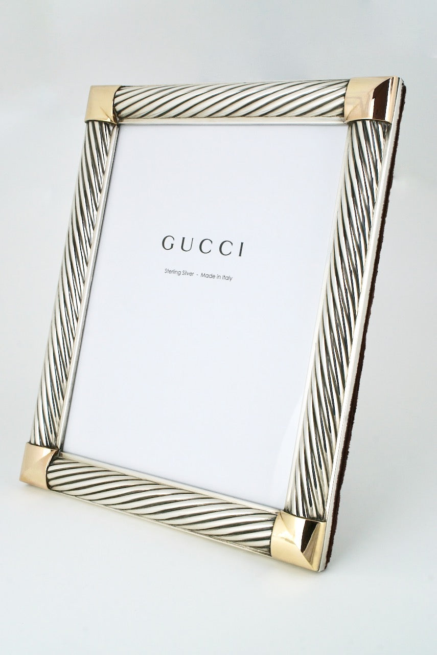 Vintage 1960s Gucci Sterling Silver Twist Motif Photo Frame