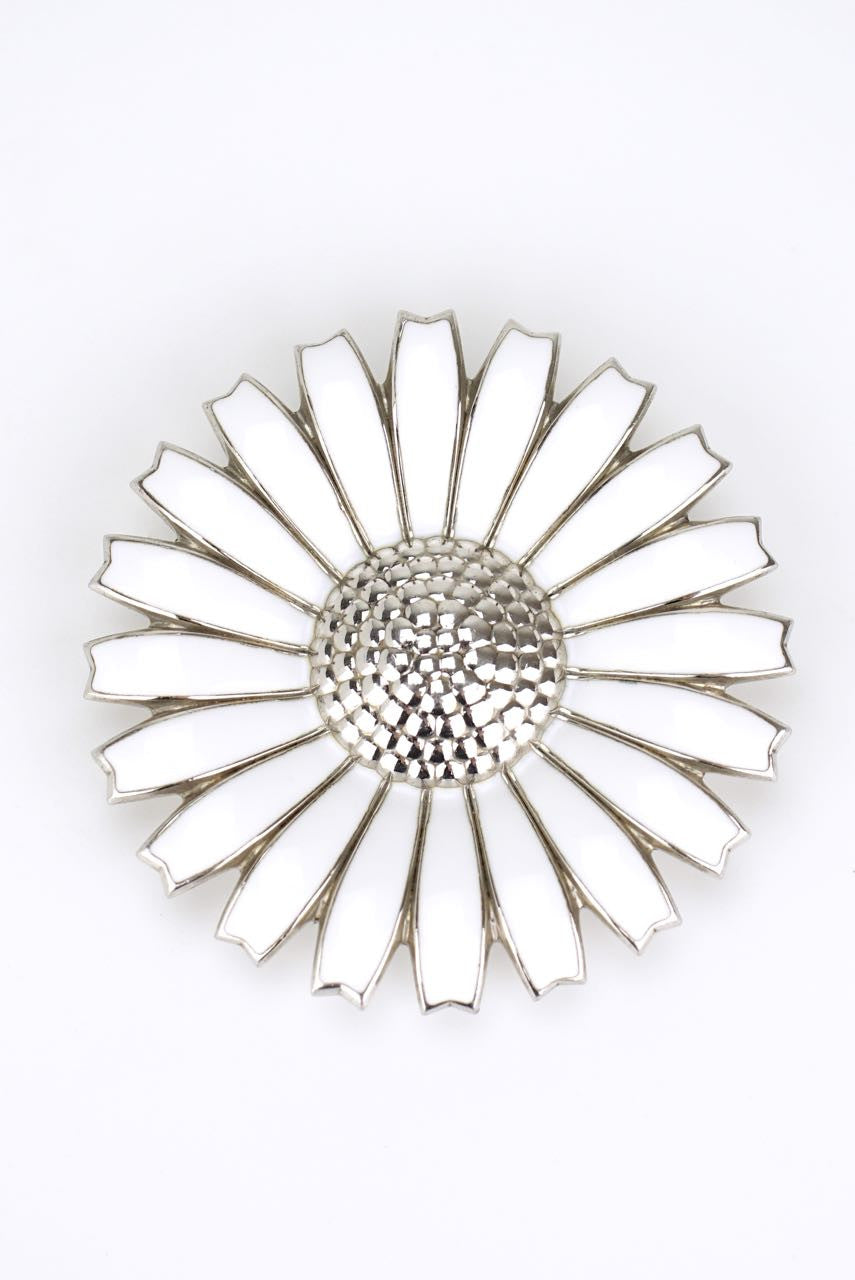 Georg Jensen silver and white enamel daisy brooch - Denmark