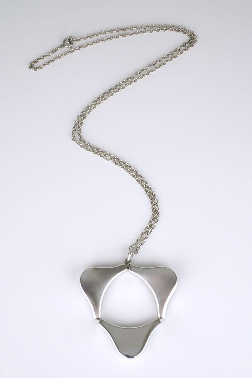 Georg Jensen silver triform pendant necklace - design 138 Ibe Dalhquist