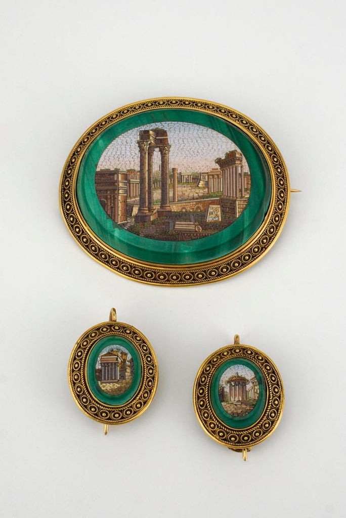 Victorian micro mosaic gold malachite brooch and earring set signed