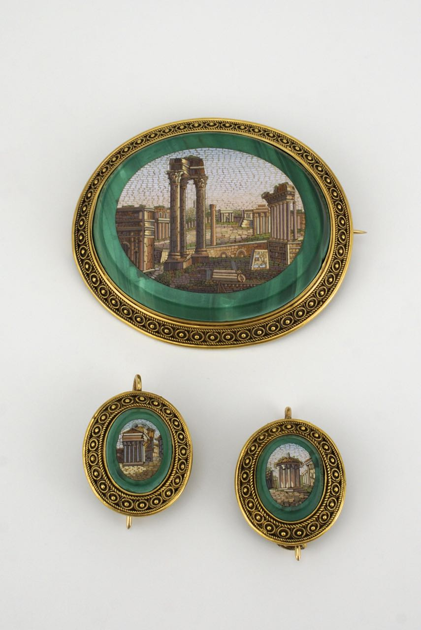 Antique Victorian micro mosaic gold malachite brooch and earring set signed