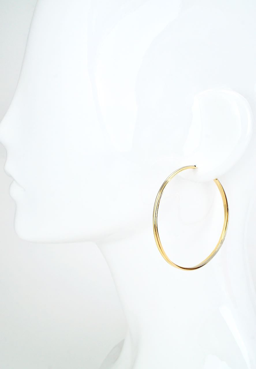 Vintage Cartier Trinity 18k Gold Extra Large Hoop Earrings
