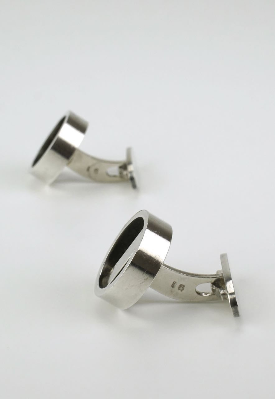 Georg Jensen silver hoop and bar cufflinks - design 91