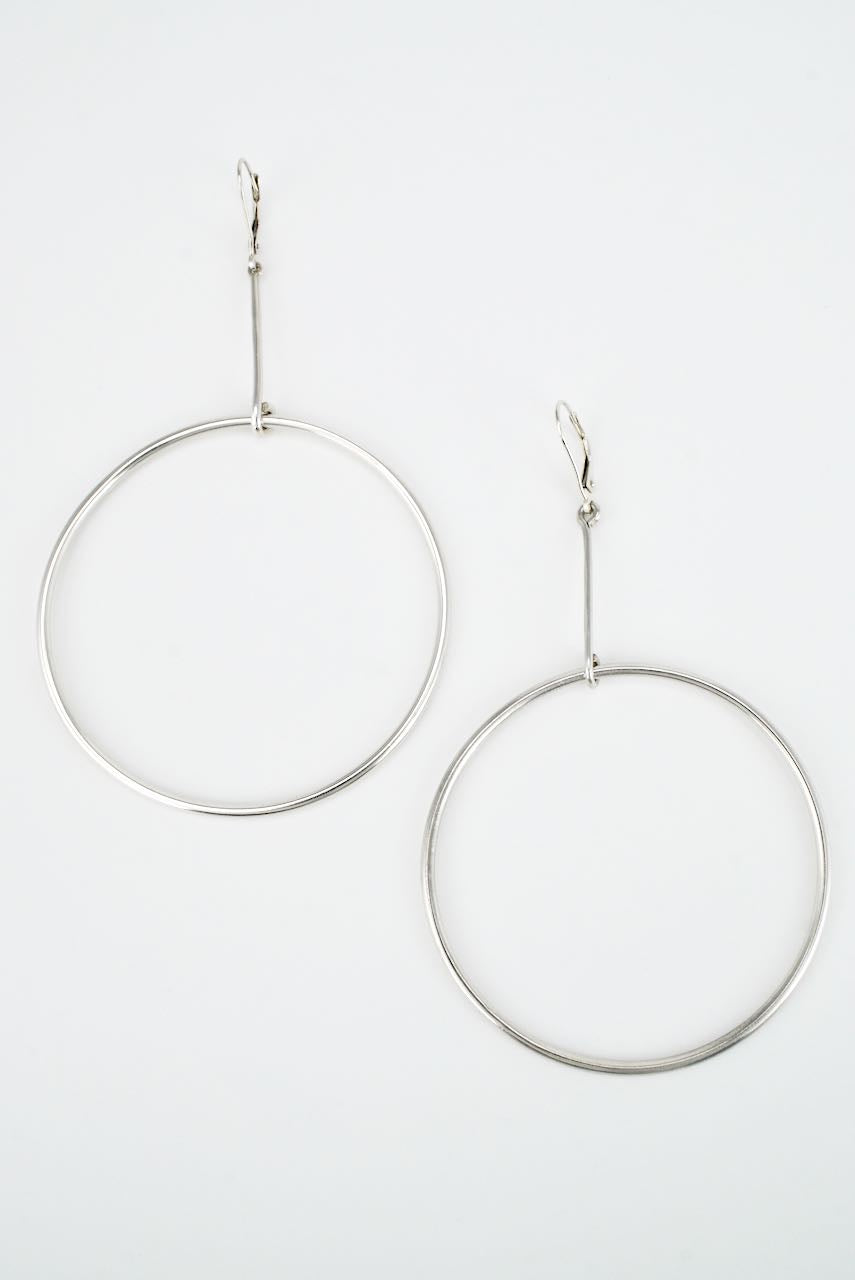 Vintage Danish Bent Knudsen Sterling Silver Drop Hoop Earrings 1980s