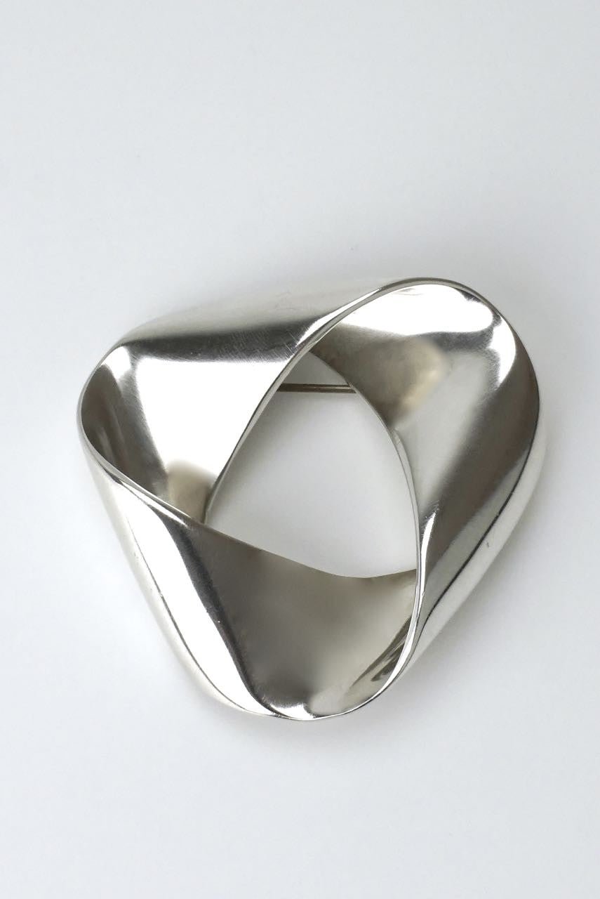 Georg Jensen silver folded triangular brooch - Karl Gustav Hansen