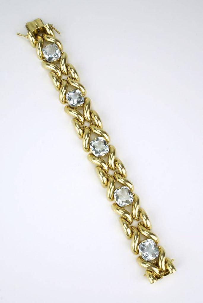 Aquamarine and 14k yellow gold fancy link bracelet 1960s