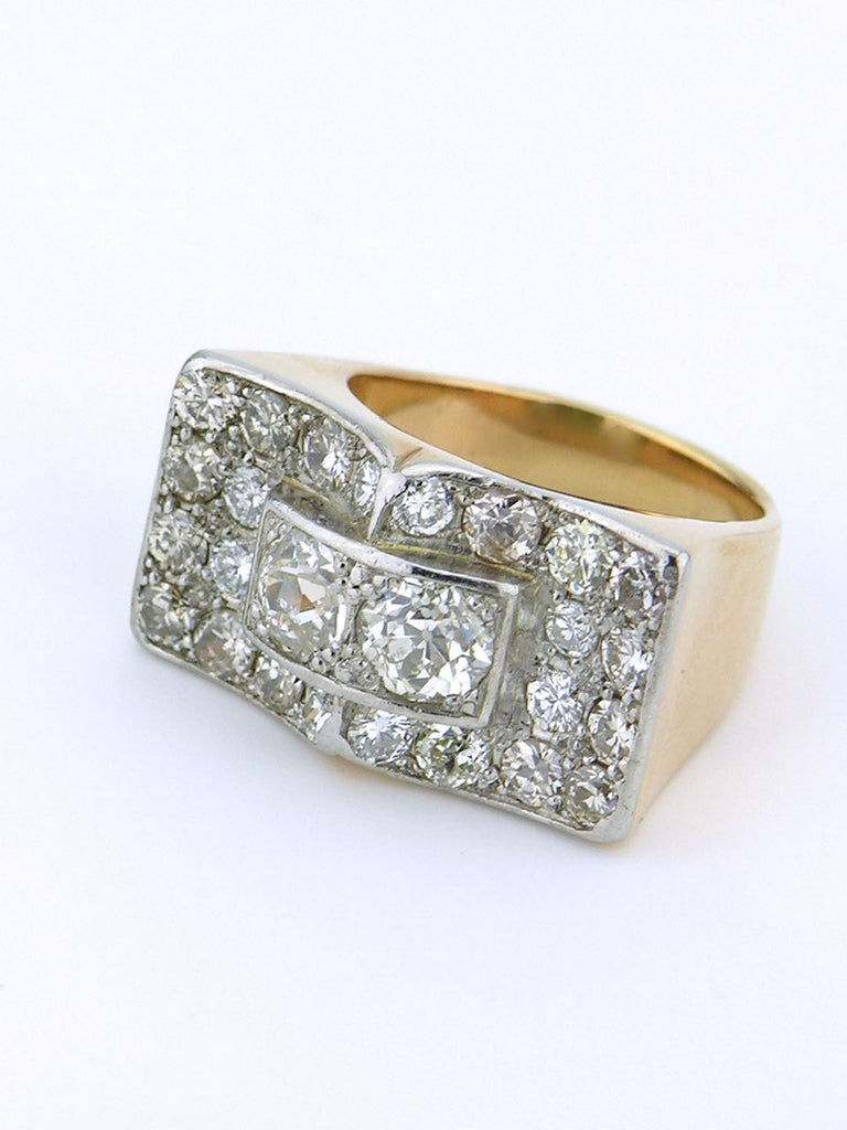 American yellow gold platinum and diamond 40's ring