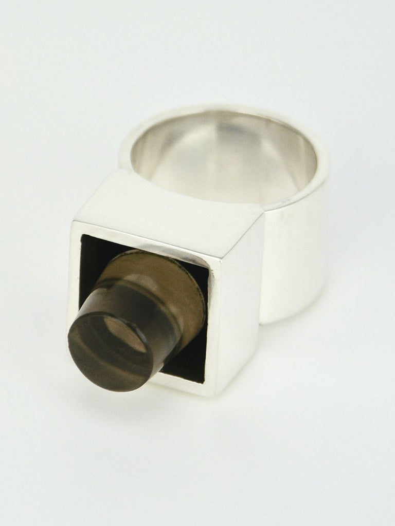 Vintage Hans Hansen Silver and Smoky Quartz Box Ring Denmark 1970s