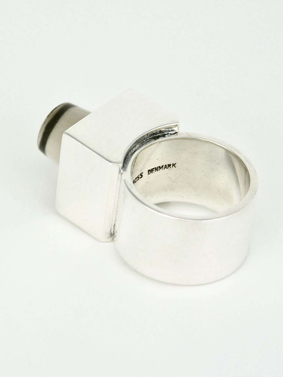 Hans Hansen Silver and Smoky Quartz Box Ring Denmark 1970s