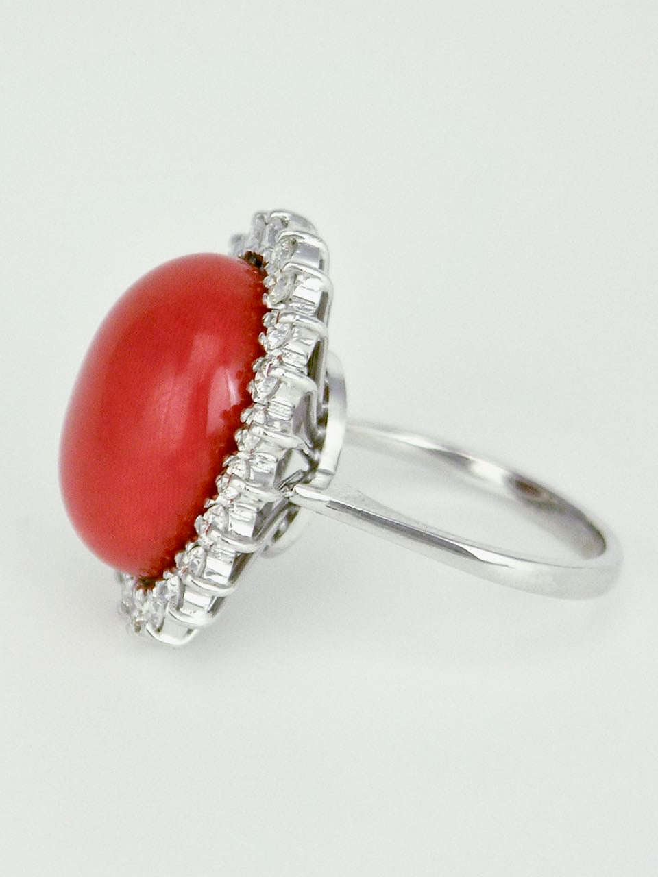 Vintage 18k White Gold Coral and Diamond Oval Cluster Ring 1970s