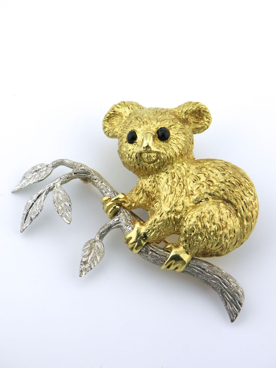 Italian 18k yellow and white gold Koala pin