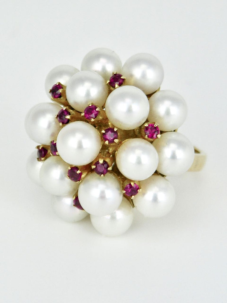 Vintage Mikimoto 14k Gold Pearl and Ruby Ring 1960s