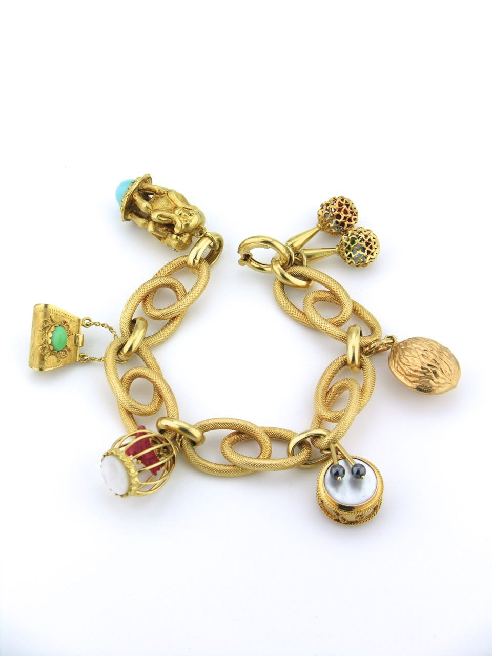 Italian large scale retro 18ct gold charm bracelet
