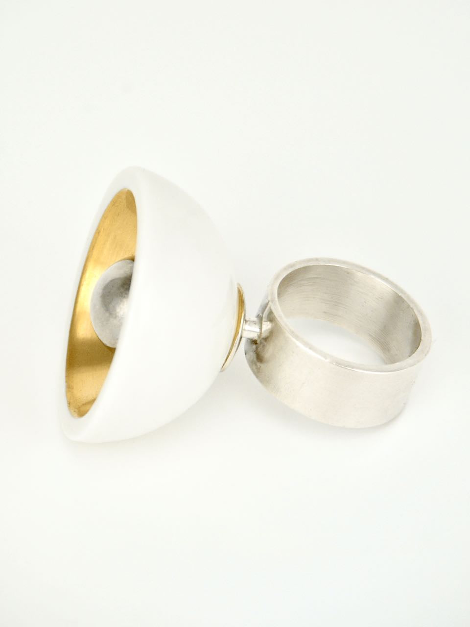 Anton Michelsen Silver and Gilded Porcelain Dish and Ball Ring 1970s