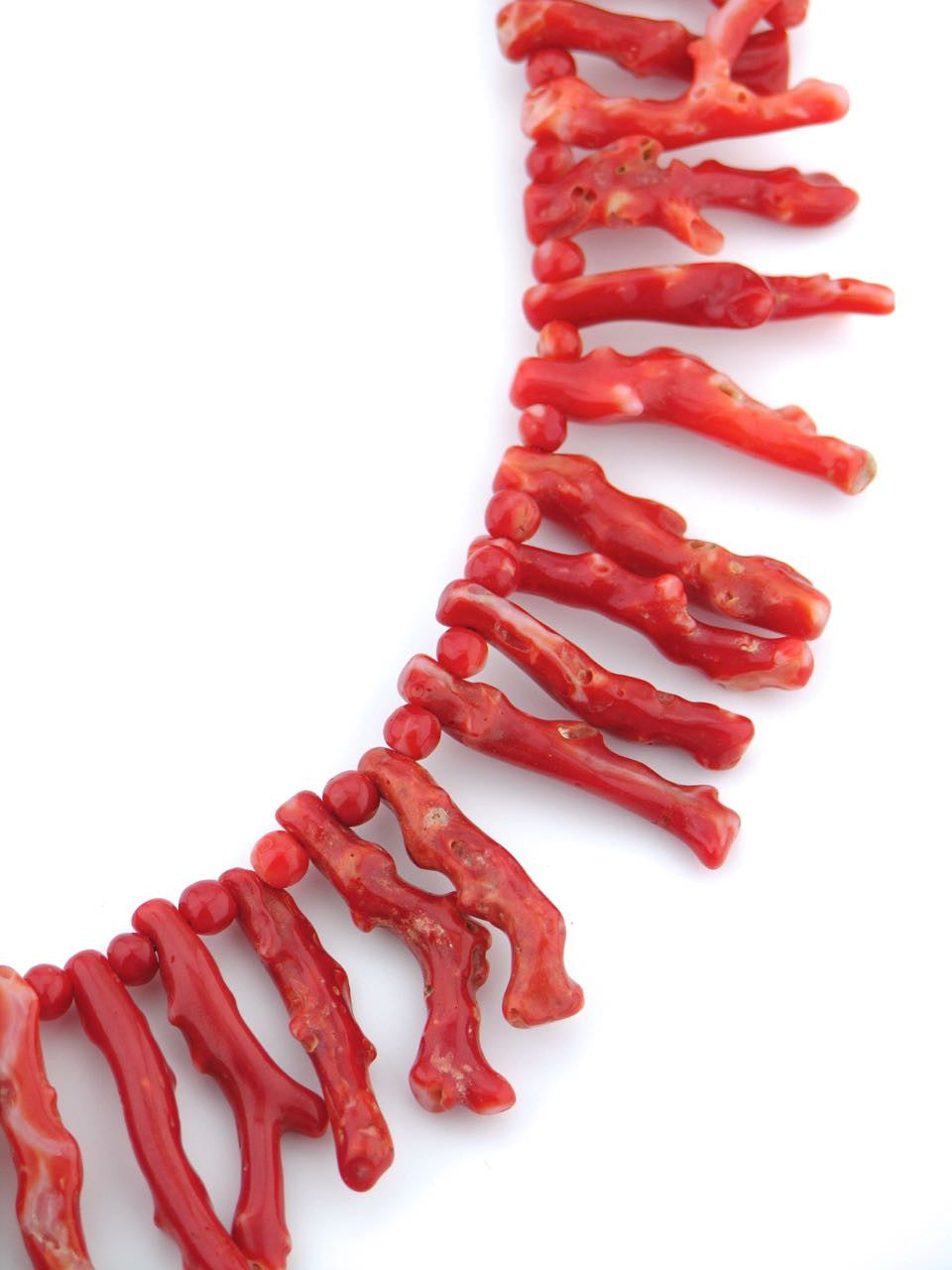 Italian red coral graduated branch necklace