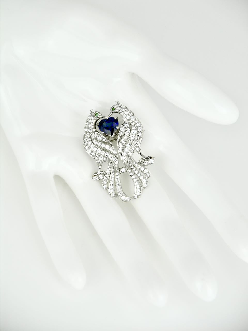 Vintage Asprey Platinum Diamond Sapphire Emerald Peacock Brooch Pin