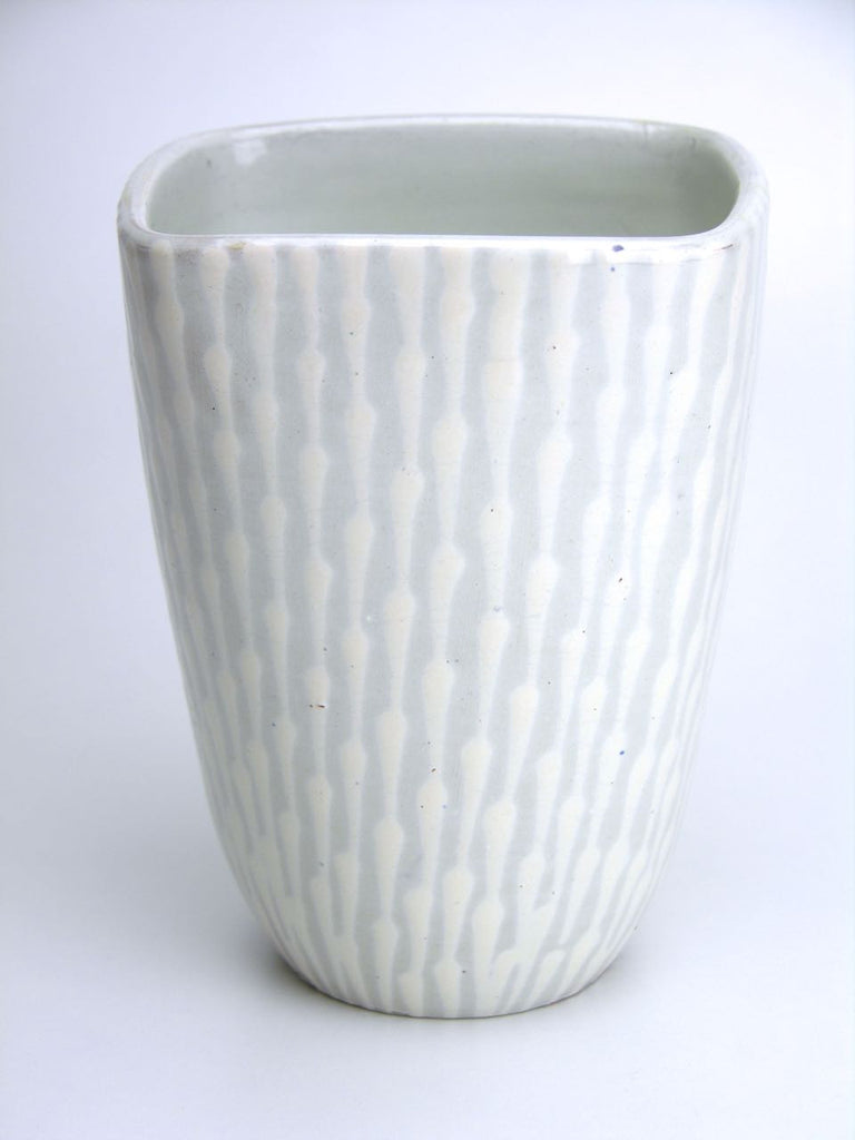 Ekeby grey and white glazed square conical vase - model number 122