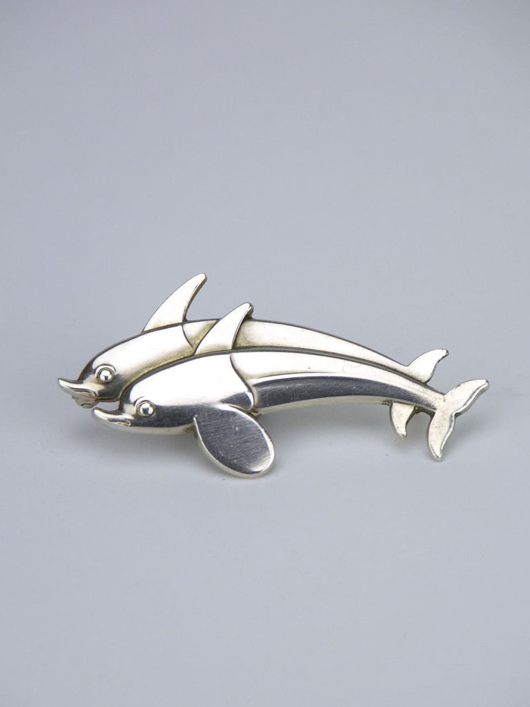 Georg Jensen silver double leaping dolphin brooch - design 317