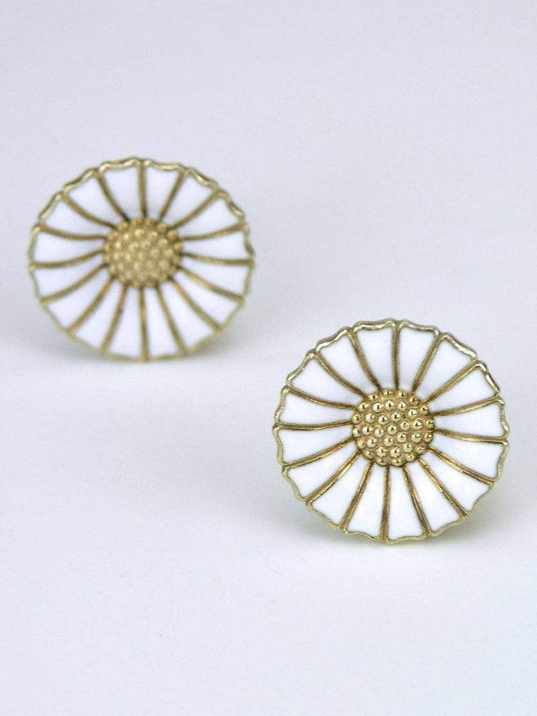 Anton Michelsen silver and enamel daisy clip earrings