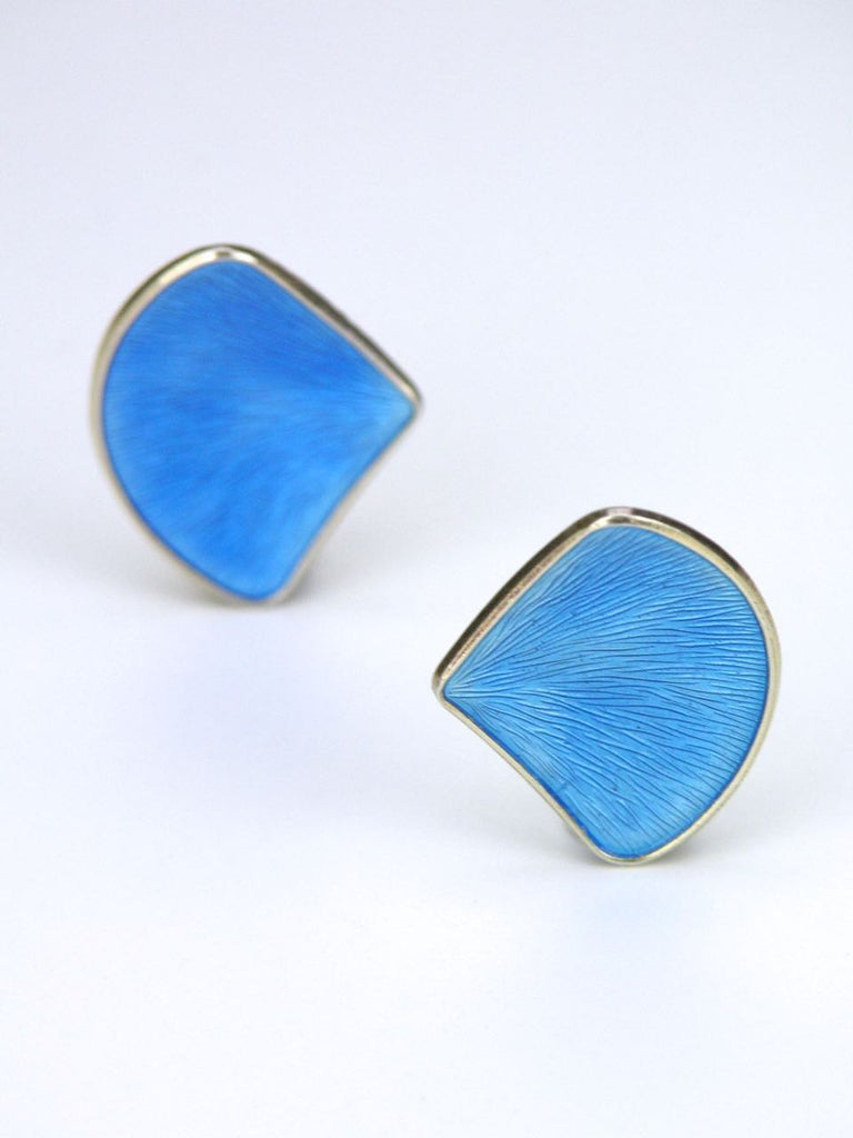 Norwegian silver and sky blue enamel fan clip earrings