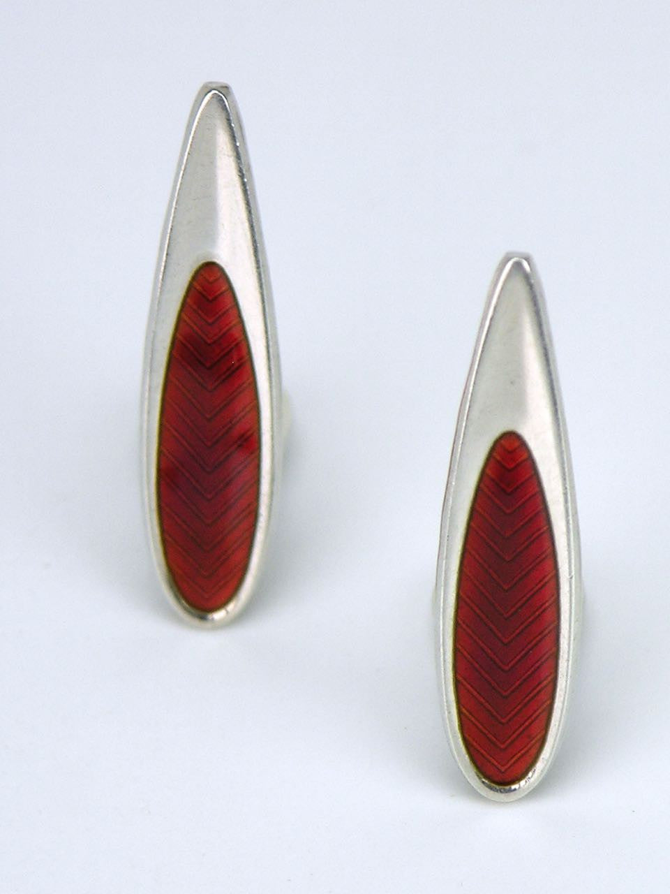 Danish silver and red enamel modernist clip earrings
