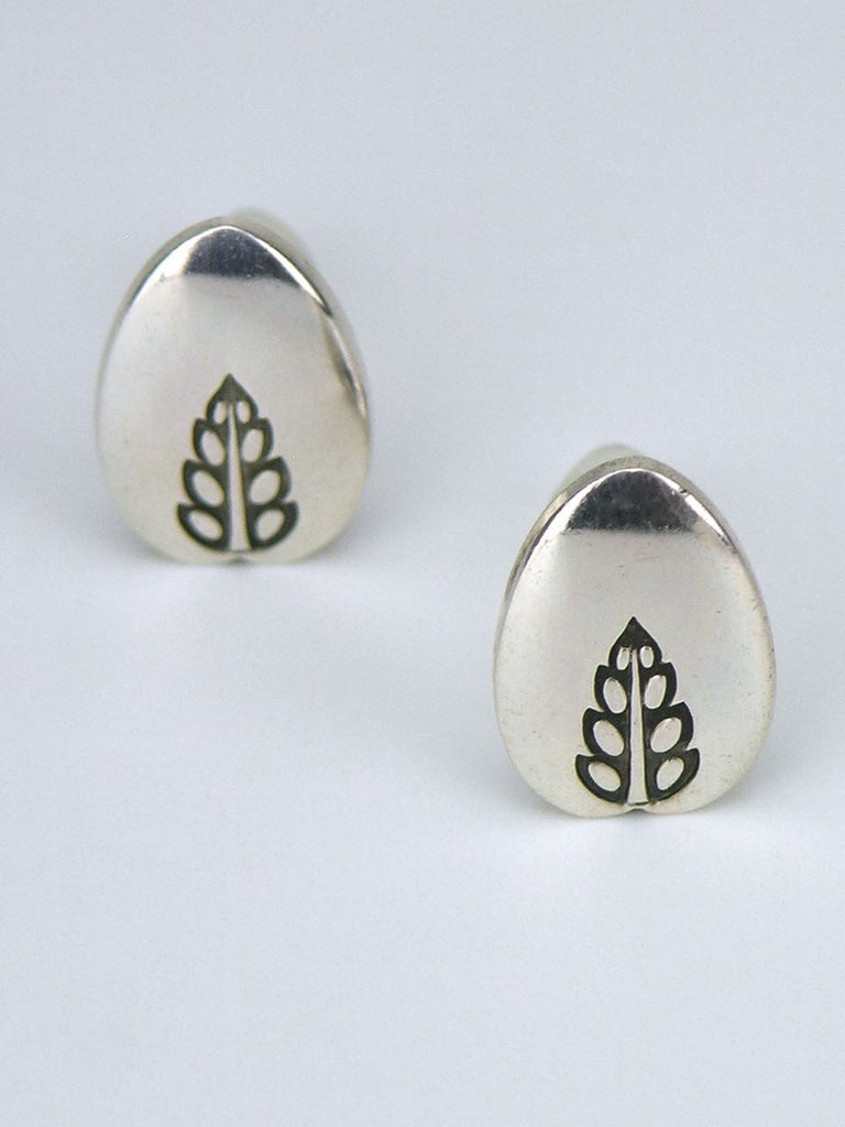 Georg Jensen silver engraved leaf earrings - design 113
