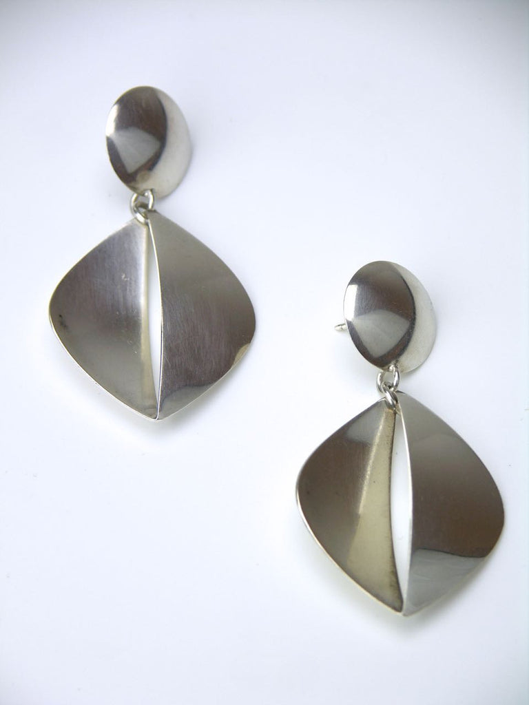 Georg Jensen silver segmented drop earrings - design number 380B