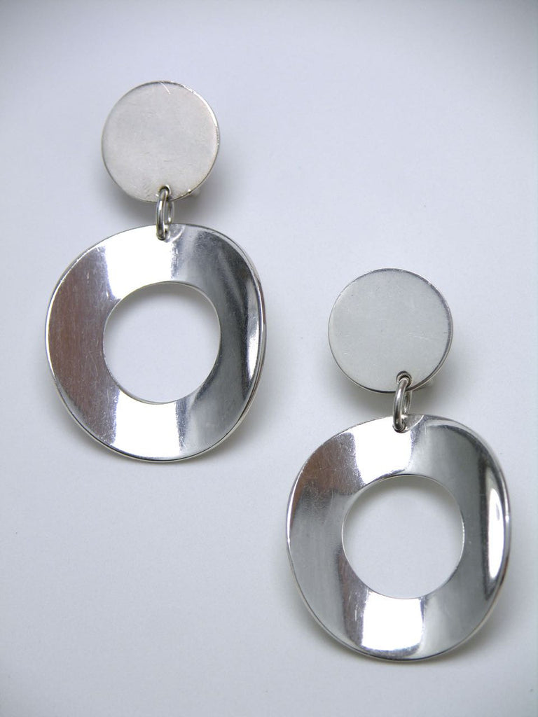 Tone Vigeland solid silver modernist hoop drop clip earrings