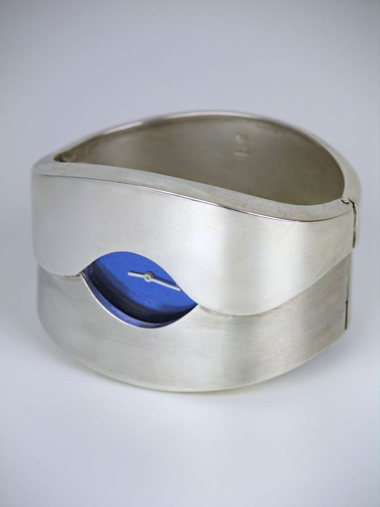 Heavy modernist silver hinged cuff watch by Relo of Austria