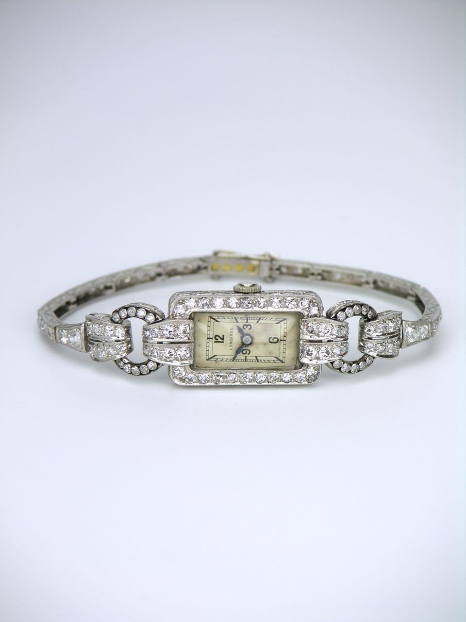 Longines Art Deco platinum and diamond ladies watch