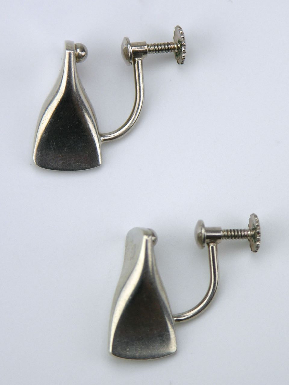 Georg Jensen silver modernist butterfly screw earrings - design 116A