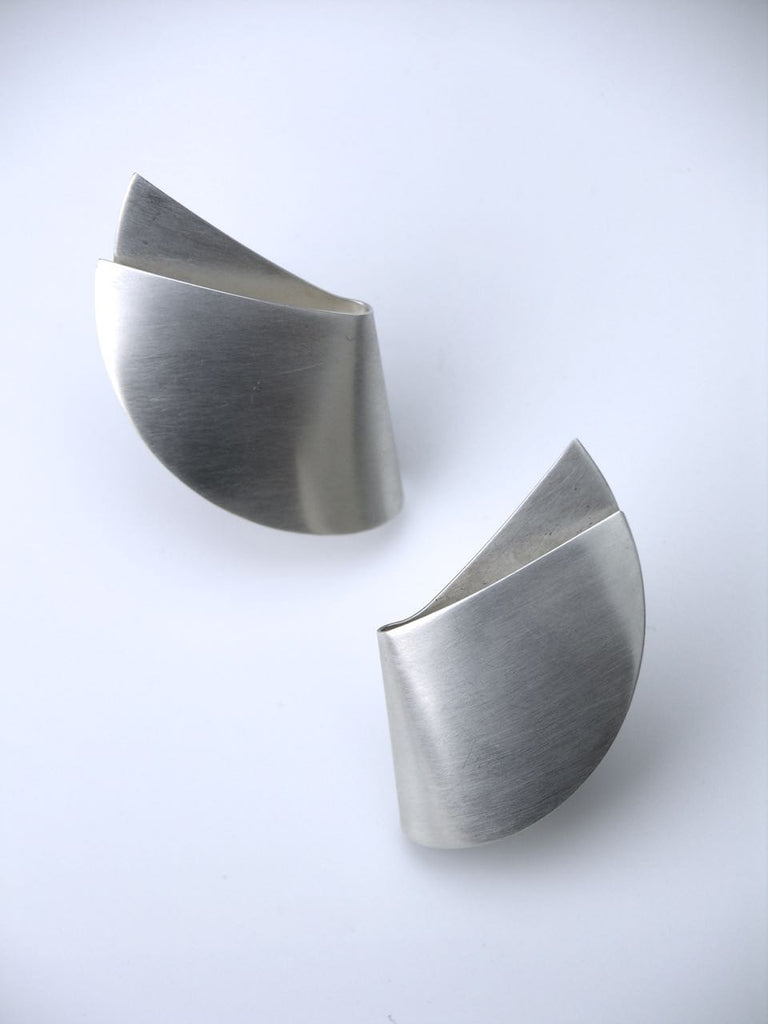 Georg Jensen solid silver brushed folded curve shape clip earrings - design 200