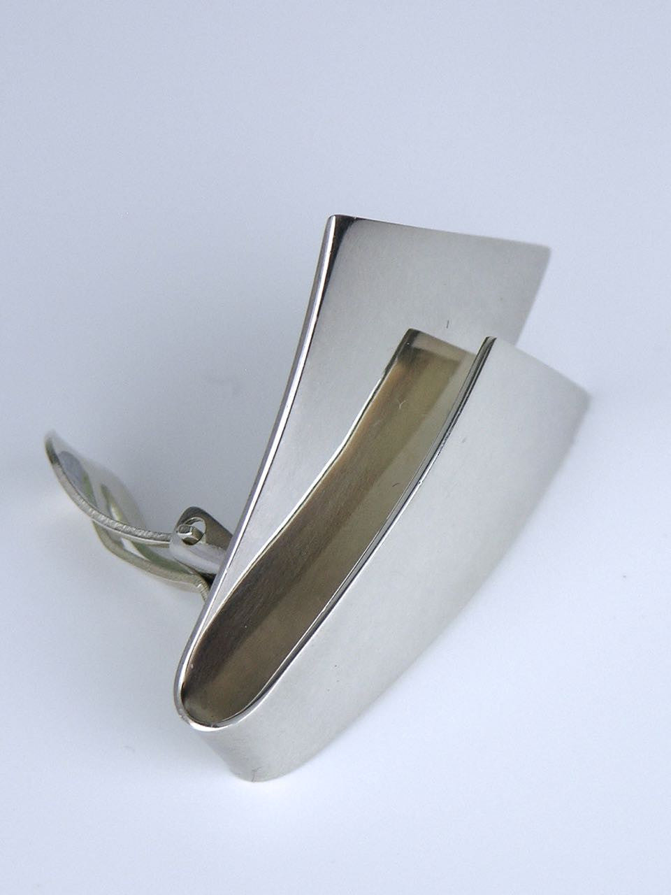 Georg Jensen silver ribbon clip earrings - design 201
