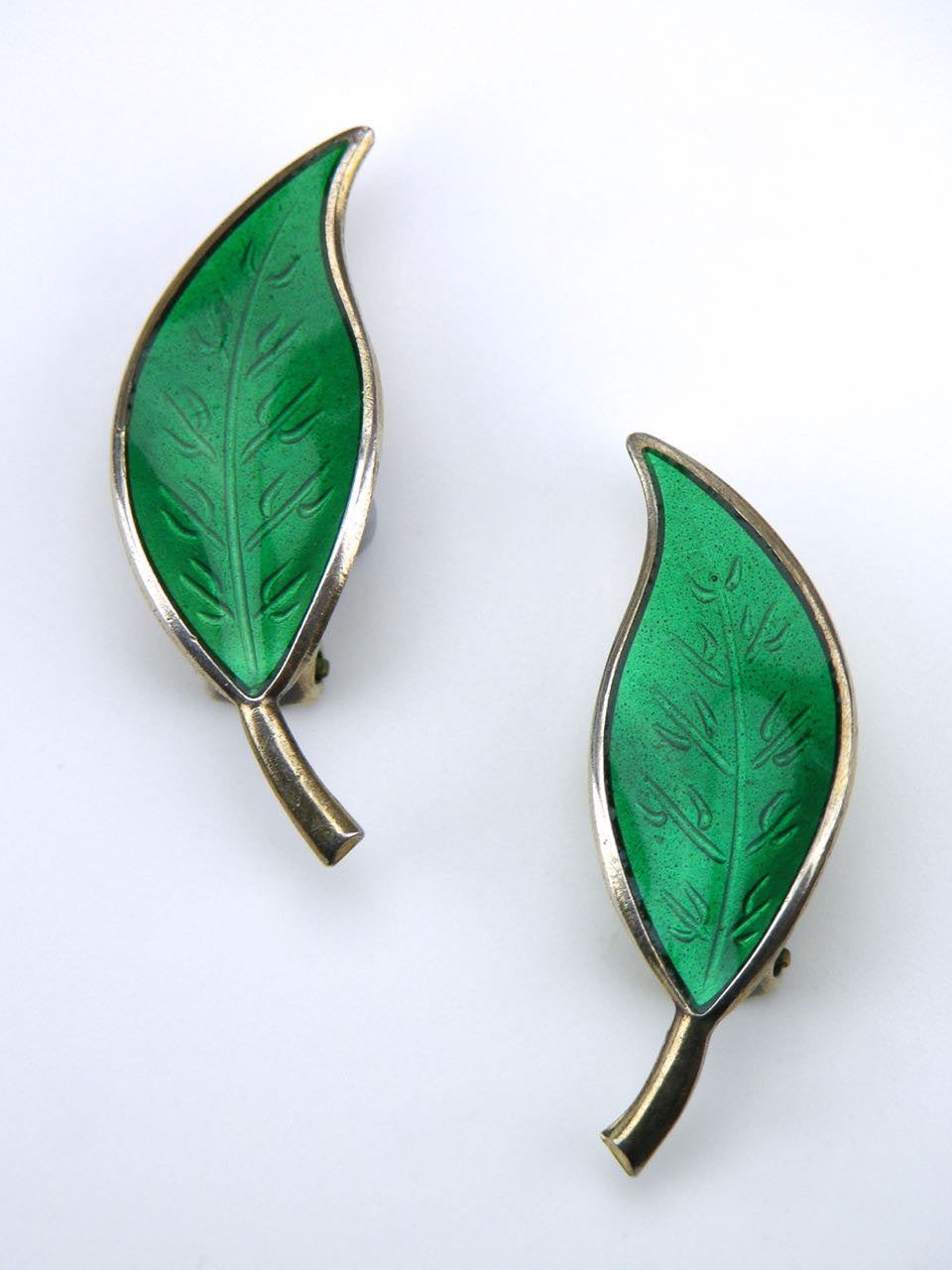David Andersen silver and green enamel leaf clip earrings